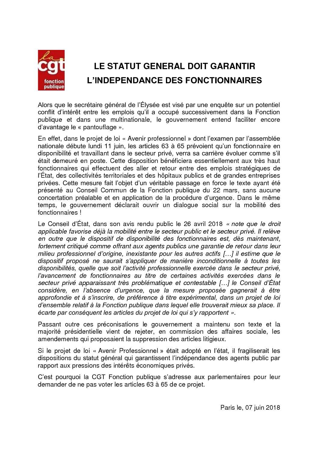Le Statut General Doit Garantir L Independance Des Fonctionnaires