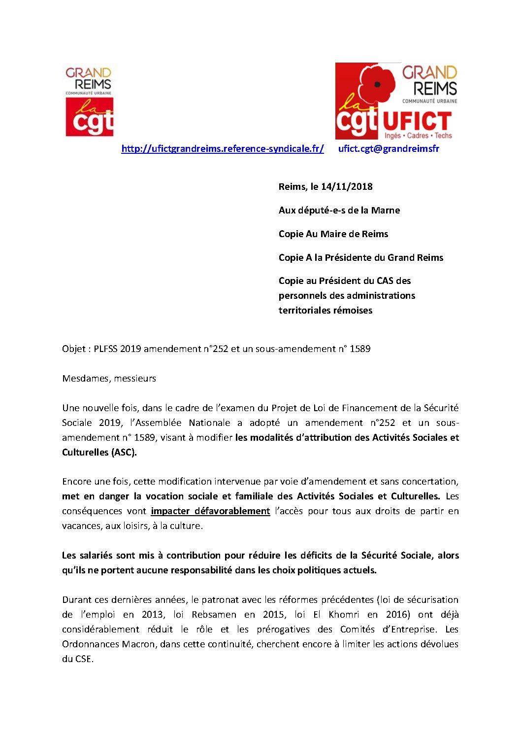 Cas La Cgt Et Lufict Cgt Du Grand Reims écrivent Aux Députés De La