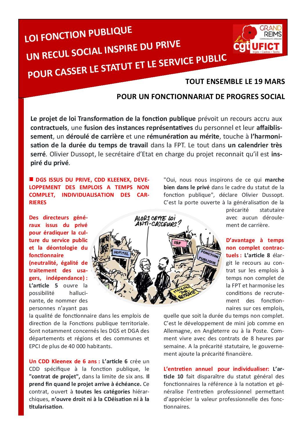 Loi Fonction Publique Un Recul Social Inspire Du Prive Pour Casser
